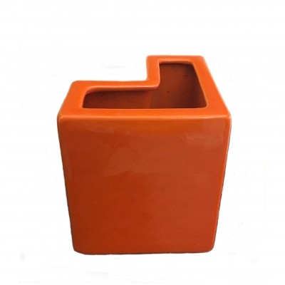 Orange geometric vase by Aldo Cotti for Tronconi 1970s