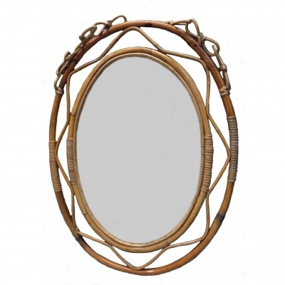 Oval bamboo mirror 1960s
