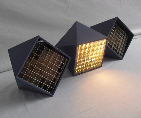 3 B-1071 ceiling lamps from the sixties by unknown designer for Raak Amsterdam