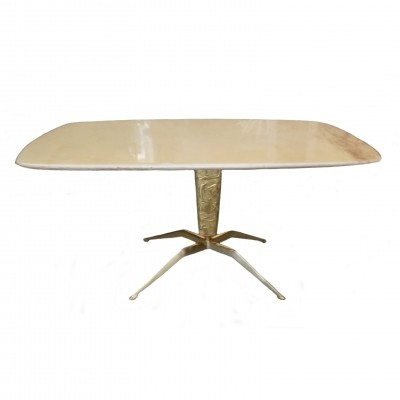 Golden Brass & Marble Coffee Table, 1950s