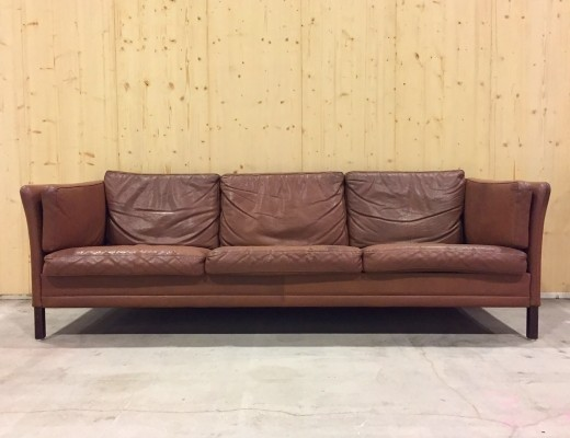 Brown Leather Sofa by Mogens Hansen, 1950s