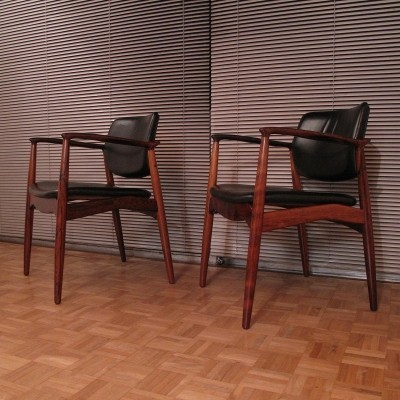 Erik Buch Model 67 Brazilian Rosewood & Leather Chairs