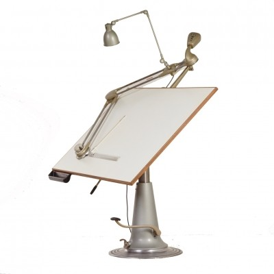 Industrial Nike Drafting Table, Lower Model with Jenny Drafting Arm & Lamp – Sweden, 1950s