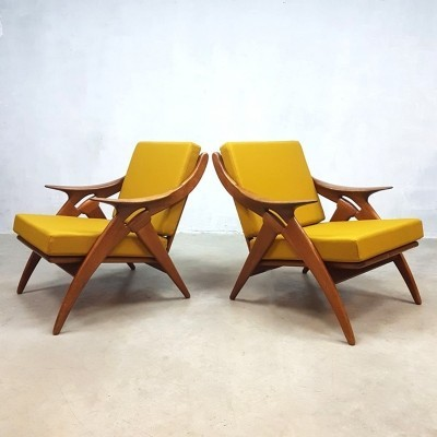 Set of 2 De knoop lounge chairs from the fifties by unknown designer for De Ster Gelderland