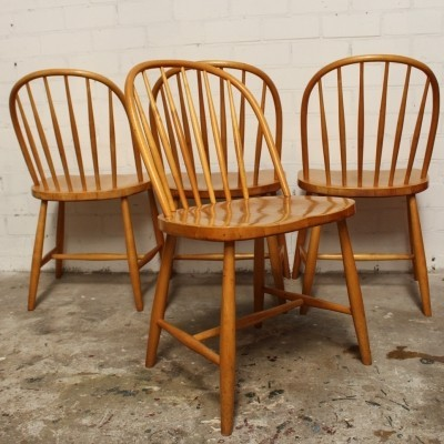 Set of 4 model 16 dinner chairs by Sven Erik Fryklund for Hagafors, 1960s