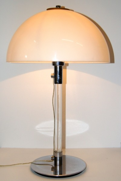 George W. Hansen Glass & Chrome Table Lamp