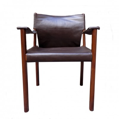 Leather armchair Safari Style 1960s