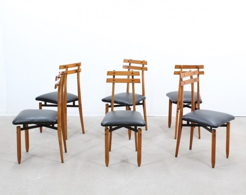 Set of 6 dinner chairs from the forties by Aloi Roberto for unknown producer