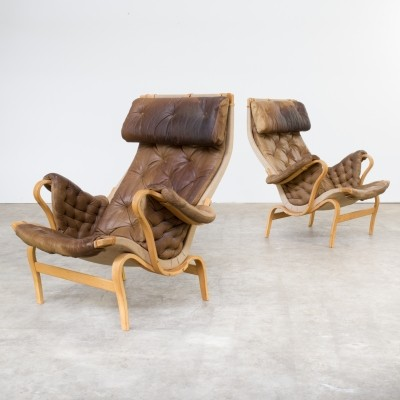 Set of 2 Pernilla lounge chairs from the seventies by Bruno Mathsson for Dux