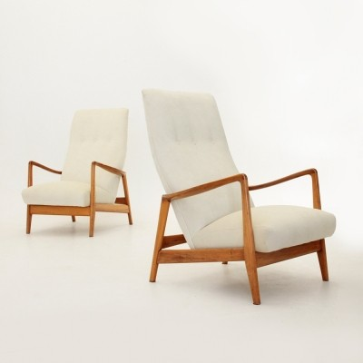 Exceptional 829 Arm Chairs By Gio Ponti For Cassina, 1950s
