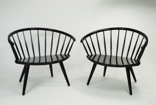 2 x Arka lounge chair by Yngve Ekström for Stolfabriks AB, 1950s