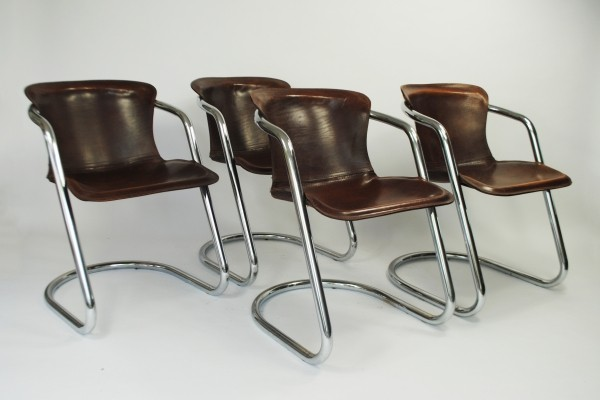 Set of 4 dinner chairs by Willy Rizzo for Cidue, 1970s