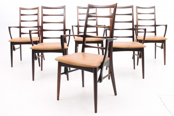 Set of 6 arm chairs from the sixties by Niels Kofoed for Kofoed Møbelfabrik