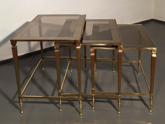 Brass & mirrored glass French nesting tables by Maison Jansen