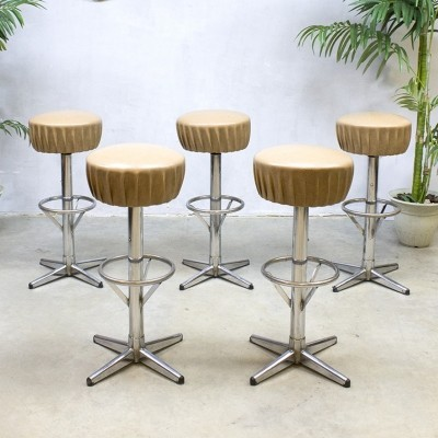 Set of 5 stools from the fifties by unknown designer for unknown producer