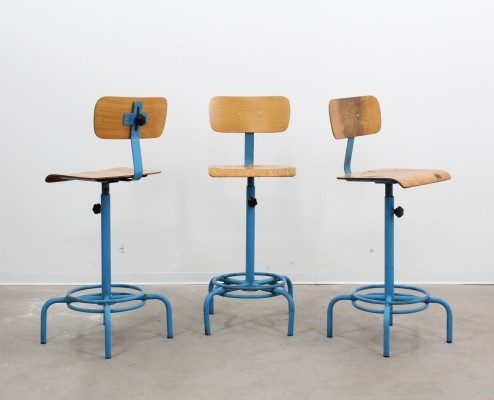 Set of 3 stools from the fifties by unknown designer for unknown producer