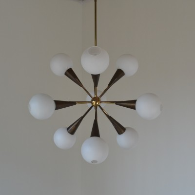 Sputnik chandelier hanging lamp from the fifties by unknown designer for Stilnovo