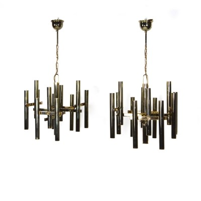 Pair of brass pendant lamps – midcentury Italy, 1960s