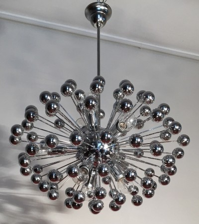 Chrome multisphere sputnik chandelier Italy, 1960s