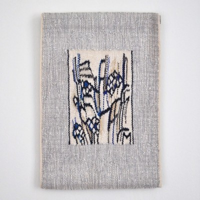 Abstract handwoven wall tapestry with a graphic expression by the Danish artist Mette Birckner