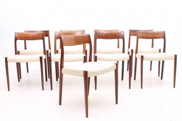 Set of 8 Model 77 dinner chairs from the sixties by Niels O. Møller for J L Møller