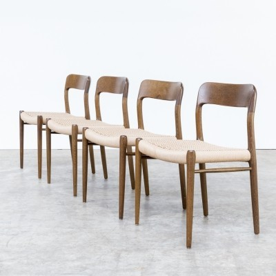 Set of 4 Model 75 dinner chairs from the sixties by Niels Otto Møller for J L Møller
