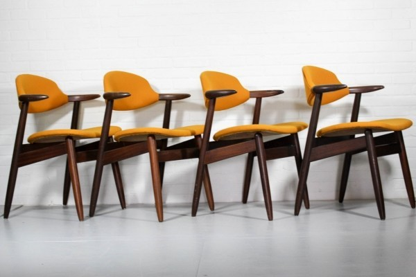 Set of 4 Cowhorn dinner chairs from the sixties by unknown designer for Tijsseling