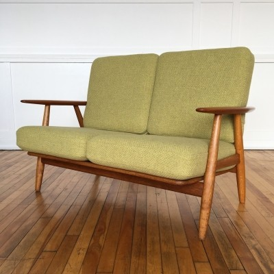 Mid Century Danish Oak & Teak Cigar Sofa Model GE240/2 by Hans Wegner for Getama in Chase Erwin Wool