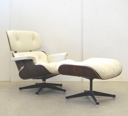Rare White Leather Herman Miller Rosewood Lounge Chair & Ottoman by Charles & Ray Eames