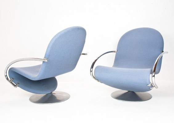 2 x 1-2-3 lounge chair by Verner Panton for Fritz Hansen, 1950s