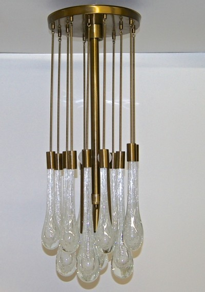 Brass & Controlled Bubble Glass Teardrop Flush Mount Chandelier