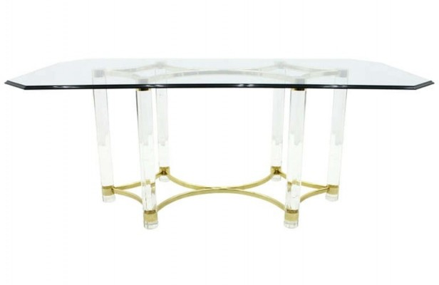 Lucite, Glass & Brass Dining Table by Romeo Paris, 1980s