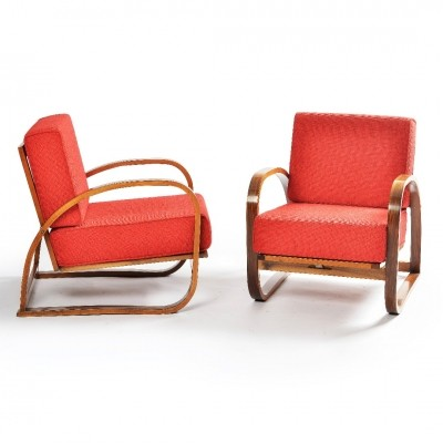 Pair of H-70 arm chairs by Jindřich Halabala for Spojene UP Zavody, 1930s