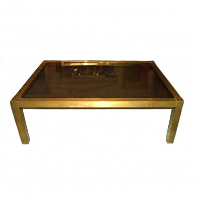 Brass coffee table with smoky glass top, 1970s.