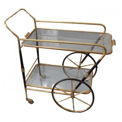 Brass trolley with two glass shelves, 1950s