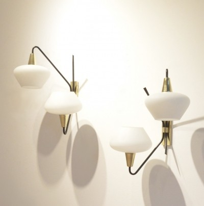 Set of 2 wall lamps from the fifties by unknown designer for Maison Arlus