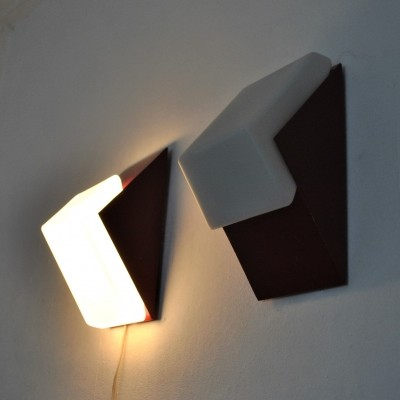 Glass & metal red wall lights by Raak Amsterdam, 1960s