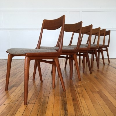 Set of Six Vintage Midcentury Danish Teak Boomerang Dining Chairs by Erik Christensen in Kvadrat Wool
