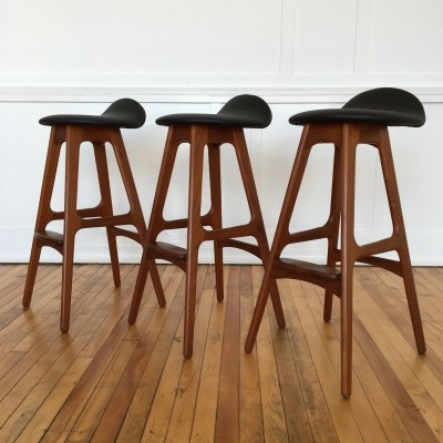 Set of three Vintage Original Danish Teak & Rosewood Counter Bar Stools by Erik Buch in new leather