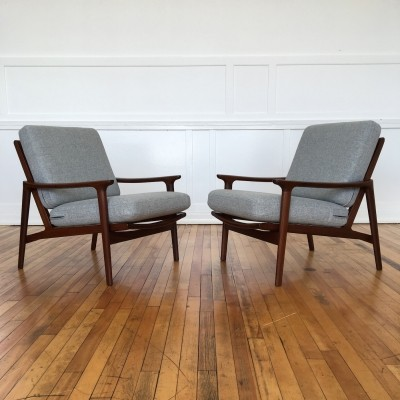 Pair of Danish Style 1960's Mid Century British Guy Rogers New Yorker Low Back Armchairs in Kvadrat Wool