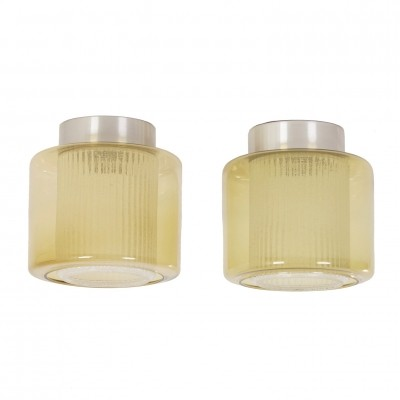 B-1264 RAAK Ceiling Lamps with Amber-yellow Glass Shade, 1970's – set of 2