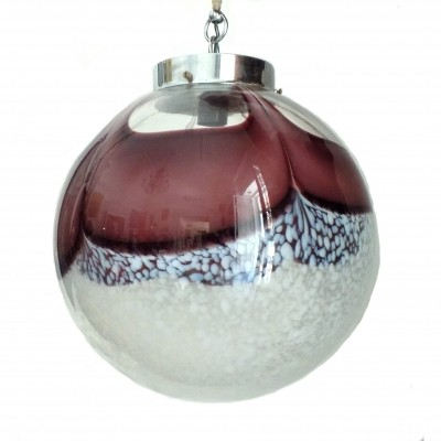 1970 Murano glass globe chandelier with purple & white inclusion by Mazzega