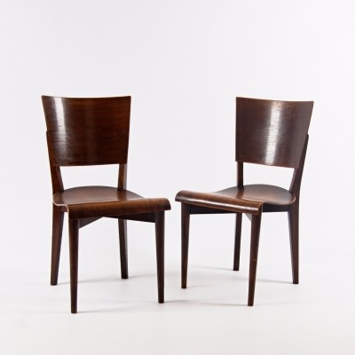 Pair of H-59 dinner chairs by Jindřich Halabala for Spojene UP Zavody, 1930s