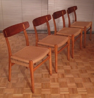 Set Of Four Hans Wegner CH-23 Chairs