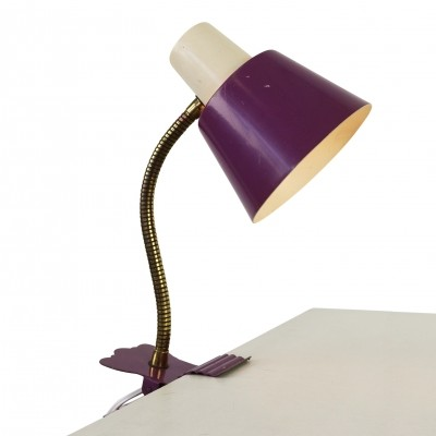 Purple clamp desk light by H. Busquet for Hala Zeist, 1960s