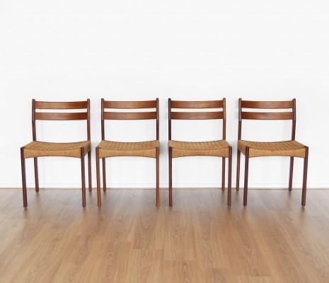 Set of four teak & cane dining chairs, 1960s