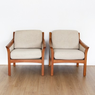 Pair of mid century Danish teak chairs with wool fabric, 1960s
