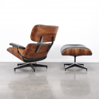 Eames lounge chair + ottoman, rosewood/black leather, 1990s