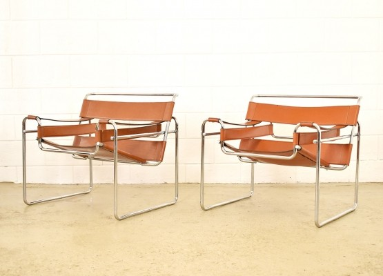 Cognac Saddle Leather Wassily B3 by Marcel Breuer, 1960s