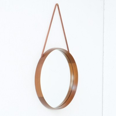 Swedish Hanging Teak Mirror by Uno & Osten Kristiansson for Luxus